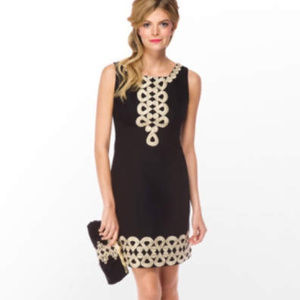 Lilly Pulitzer Adelson Black Gold Trim Dress